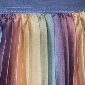 Rainbow Pleated Knee Length Skirt